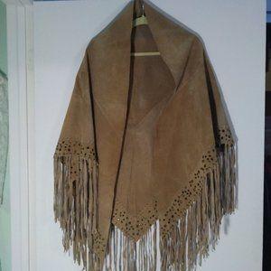 Fringe Suede Shawl Coat Western Cowgirl Top Stud
